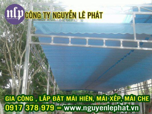 Thay bạt mái xếp ,Lắp đặt mái che bạt xếp tại Phú Giáo Bình Dương giá rẻ